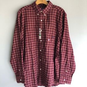 Chaps Red Plaid Flannel Long Sleeve Button Down